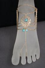 Women Foot Bracelet Metal Chains Gold Anklet Ethnic Bling Charm Turquoise Blue