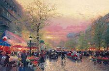 "Thomas Kinkade ""Paris City of Lights"" Signed 18X27 Gold Frame"