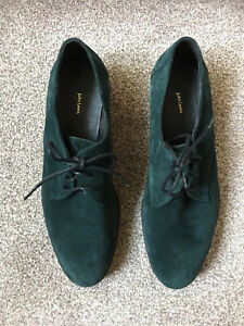 John Lewis teal suede lace up shoes brogues size 40 (7.5)