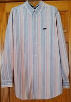 Chaps Mens Large Shirt Easy Care Long Sleeve Button Down Striped Cotton Blend