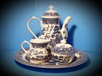 WILLOW (BLUE) COFFEE POT, CREAMER, SUGAR BOWL & SERVER PLATE~6 PIECE SET