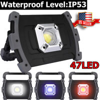 90000LM USB Rechargeable COB LED Work Light Outdoor Flood Lamp With Stand 3-Mode