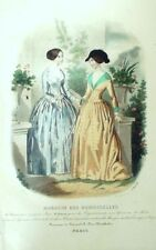 French CONSEILLER DAMES SEWING PATTERN March 1847 Corsage, Chapeau - broderie