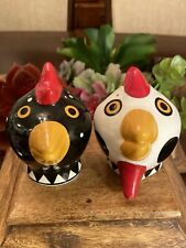 Pair Of Chicken Heads Salt and Pepper Shakers Signed Palmer? Handmade