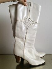BALLY Leather Boots, Cream, Off-White, Diamond Snake Skin detail
