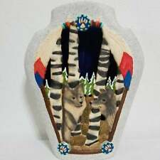 Vintage Ceramic Indian Wolf Art Home Decor Piece Candle Holder 2 Wolves