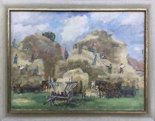 Heinrich Rode 1906 - 1983 Hamburg - Fenaison avec Personnes et Chevaux 1938