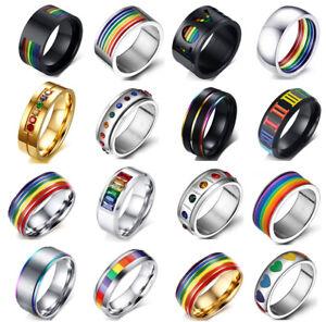 Men Women Fashion Rainbow Pride Silver Gold Titanium Steel Ring Band Collection