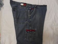 VINTAGE 90'S TOMMY HILFIGER 40X32 LOGO CARGO JEANS COLORED LEATHER PATCH RED ZIP