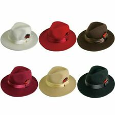 New Men 's 100% Wool Fedora Trilby Hat Style Burgundy Black Brown Khaki Red  LH3