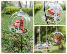 DIY Wooden Doll House Miniature 3D Handwork Model Kit With Light In Glass Ball