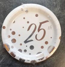8X Bodas de Plata Platos Papel para Fiesta 25th Aniversario Postre 18cm