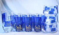 11 Piece Blue MID CENTURY Egyptian Barware Gold Glasses Bowls Pitcher Egypt Tall