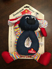 New Schoolhouse Plush Blue Dog Rope Tug Snuggle Fetch Squeaky Squeaker Dog Toy