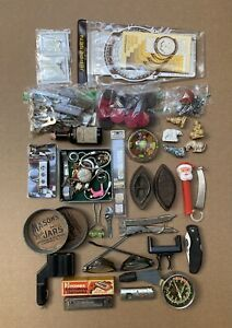 Vintage Junk Drawer Lot Watches, Rings, Wade Figurines, Sewing Attachments, Etc.