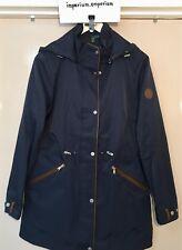 Women's Lauren Ralph Lauren Anorak Coat Hooded Jacket Faux Leather Blue Size XS