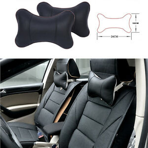 2x Universal PU Leather Car Seat Headrest Head Neck Support Pillow Soft Cushion