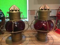 "Pair Huge Vintage Ships Hanging ""Onion"" Oil Lamps Light Maritime Marine Nautical"