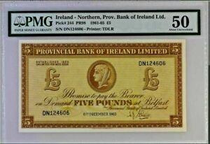 £5 pounds 1965 Provincial Bank of Ireland - Northern £5 PR98 1965 P-244. A/Unc.