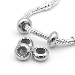 Stopper Clip Beads Charm With Rubber Fit European For Bracelet Necklace Round