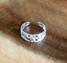 925 Sterling Silver Filigree Flower Open Toe Ring