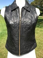 Studio Siena Black Leather Quilted Vest ~ Super Soft ~ SZ: S ~ EUC!!!