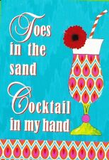"Small garden flag - toes in sand - Cocktails in Hand -Lowes - 12.5"" x 18"" (#212)"