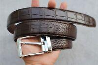 Dark Brown Genuine Alligator, Crocodile Leather Skin Men's Belt # TL908