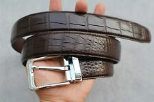 Dark Brown Genuine Alligator, Crocodile Leather Skin Men's Belt # TL0289