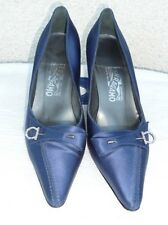 SALVATORE FERRAGAMO MADE IN ITALY HEELS PUMPS SATIN SHOES SIZE 7.5 B BLUE