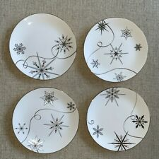 Set of 4~Lenox~Merry and Bright~SNOWFLAKES~Dessert Plates~Never Used~MINT
