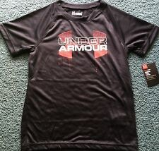 NWT Boys Under Armour 5 Black/Red/White/Gray BIG LOGO Short Sleeve Shirt 5