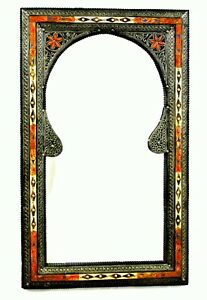 Moroccan Wall Mirror Large Authentic Home Decor Handmade Orange Blue Silver Red