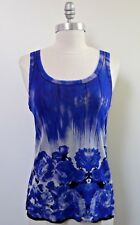 NEW JEAN PAUL GAULTIER JPG SOLEIL blue white black floral nylon mesh tank top XL