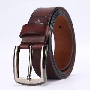 New Men's Belt Fashion Genuine Cow Leather Belt Waist Strap Girdle Pin Buckle