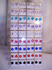 Joblot of 36 Pairs Mixed colour square 6mm Crystal stud Earrings - New wholesale