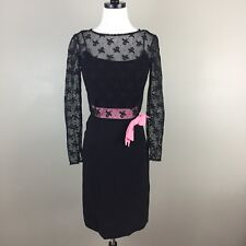 Vtg 60s Another Ann Barry Lace Sheath Dress Party Cocktail Black Pink Bow