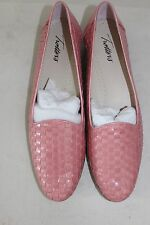 Women's TROTTERS Rose Colored Leather Woven Slip-On Loafers Sz 9 1/2N NWOB L#227
