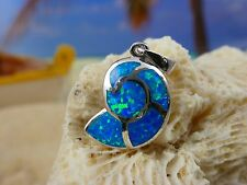 COOL!  HIGH POLISHED STERLING SILVER BLUE FIRE OPAL NAUTILUS SHELL PENDANT