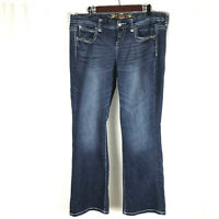 Maurices Womens 16 Straight / Barely Bootcut Dark Wash Denim Jeans Stretch Flap