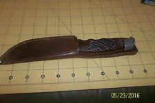 USA SCHRADE WALDEN KNIFE Old RARE 147 AMERICAN Jig Bone Stag Style with Case