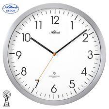 Atlanta 47 Radio Reloj De Pared cocina Análogo PLATA Bajo Nivel ruido Oficina