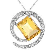 3.45ctw Diamond & Citrine Solid White Gold Necklace