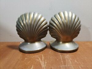 HEAVY Vintage Solid Brass Shell Book Ends