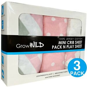 Pack N Play Sheets 3 Pack | Pink Mini Crib Sheets Set for Baby Girls