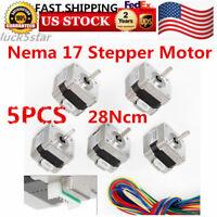 5x Nema 17 Stepper Motor 0.4A 1.8° 12V For 3D printer CNC Reprap DIY US SHIPPING