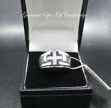 72795199a50a Nuevo Caballeros 9K Dorado 9ct Oro Blanco Diamante Anillo De Banda Cruzada  tamaño T US 9 3 4 6.8g