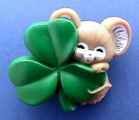 Hallmark PIN St Patrick Vintage MOUSE SHAMROCK Tan Irish Holiday Brooch