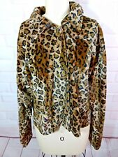 Leopard print Vintage exotic cat Boxy plush Velour Jacket coat M 90's