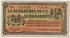 LA TESORERIA DE LA FEDERACION 16.3.1914 GUAYMAS SONORA 1 PESO (PICK#S1060) VF/XF